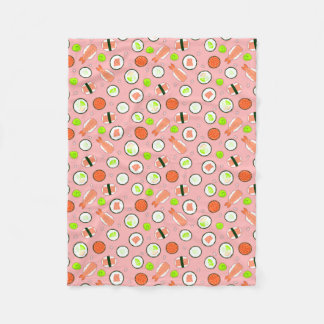 Cute Sushi Pattern Pink Fleece Blanket