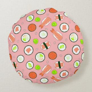 Cute Sushi Pattern Pink Round Cushion