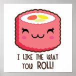 Cute Sushi Roll Emoji Poster