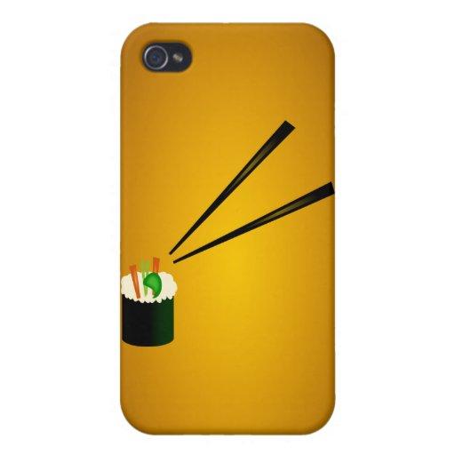 Cute Sushi Roll In Corner With Chopsticks iPhone 4 Cases