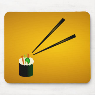 Cute Sushi Roll In Corner With Chopsticks Mouse Mat