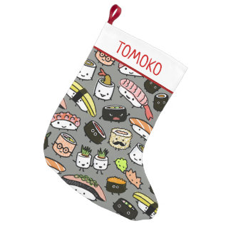 Cute Sushi with Custom Text Small Christmas Stocking