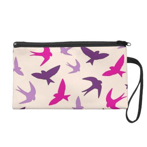 Cute Swallow Birds Pattern Purple Cream And Pink Wristlet Clutch