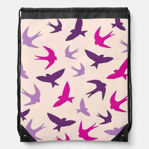 Cute Swallow Birds Pattern Purple Cream And Pink Cinch Bag