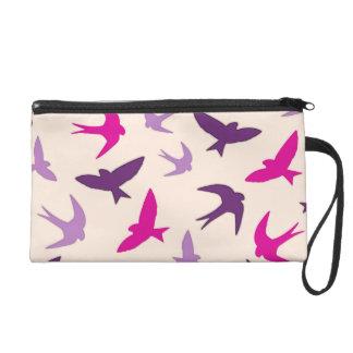 Cute Swallow Birds Pattern Purple Cream And Pink Wristlet Purse