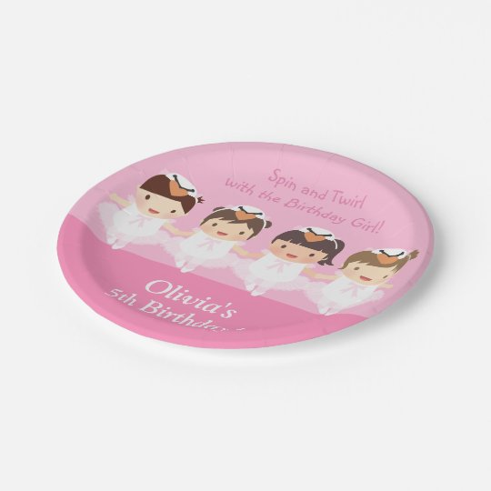 Cute Swan Ballerina Birthday Party Supplies Paper Plate