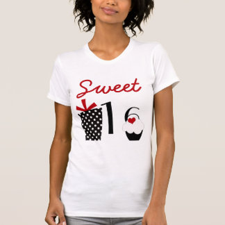 Cute Sweet 16 Cupcake and Polkadot Present T-Shirt