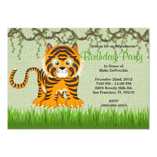 CUTE Sweet Baby Tiger Vines Jungle Birthday Card