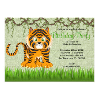 CUTE Sweet Baby Tiger Vines Jungle Birthday Personalized Invitations