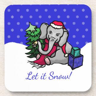 Cute Sweet Christmas Santa Elephant Let It Snow Coaster