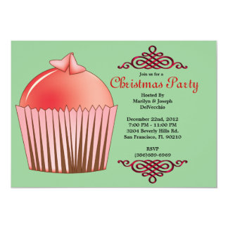 CUTE Sweet Cupcake With Red Border Christmas Holid 13 Cm X 18 Cm Invitation Card