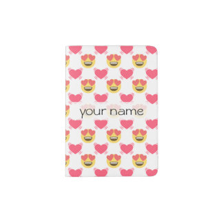 Cute Sweet In Love Emoji, Hearts pattern Passport Holder