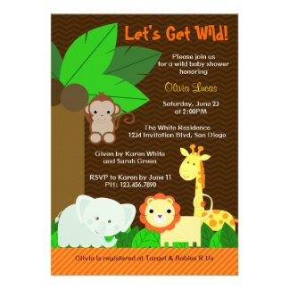 Cute Sweet Jungle Animals Baby Boy Baby Shower Personalized Invite