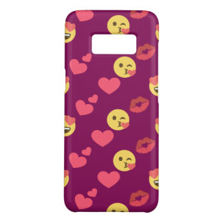 Cute Sweet Pink Emoji Love Hearts Kiss Pattern Case-Mate Samsung Galaxy S8 Case