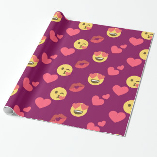 Cute Sweet Pink Emoji Love Hearts Kiss Pattern Wrapping Paper