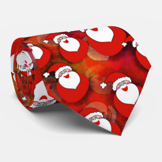 Cute, sweet Santa Claus with gifts. Christmas Red. Tie
