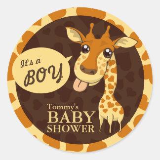 Cute Sweetheart Giraffe Baby Shower Round Sticker