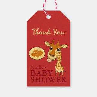 Cute Sweetheart Giraffe Baby Shower Thank You Card Gift Tags