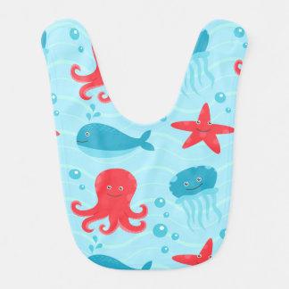 Cute swimming blue red Sea creatures jellyfish Baby Bib