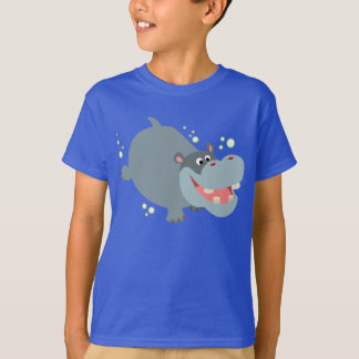 Cute Swimming Cartoon Hippo Children T-Shirt