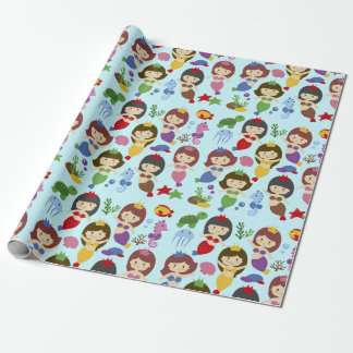 Cute swimming chibi mermaids under sea pattern wrapping paper