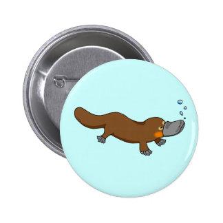 Cute swimming duck-billed platypus 6 cm round badge