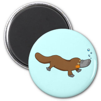 Cute swimming duck-billed platypus 6 cm round magnet