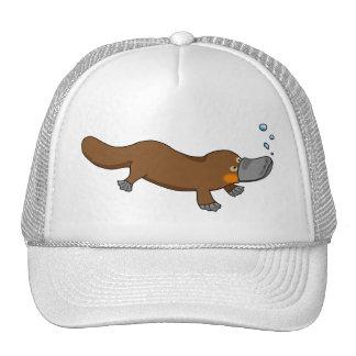 Cute swimming duck-billed platypus cap