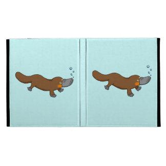 Cute swimming duck-billed platypus iPad folio covers