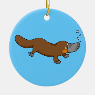 Cute swimming duck-billed platypus christmas ornament