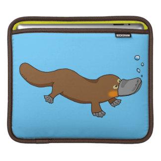 Cute swimming duck-billed platypus iPad sleeves