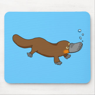 Cute swimming duck-billed platypus mouse pad