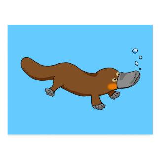 Cute swimming duck-billed platypus postcard