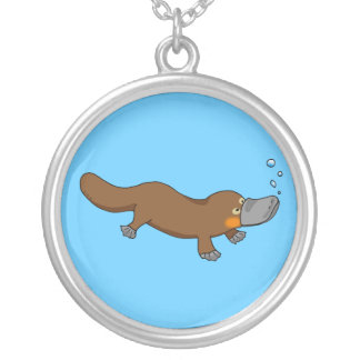 Cute swimming duck-billed platypus round pendant necklace