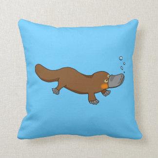 Cute swimming duck-billed platypus throw cushions