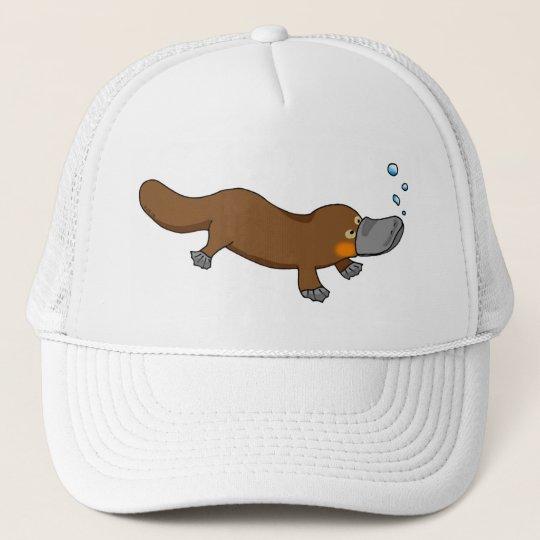 Cute swimming duck-billed platypus trucker hat