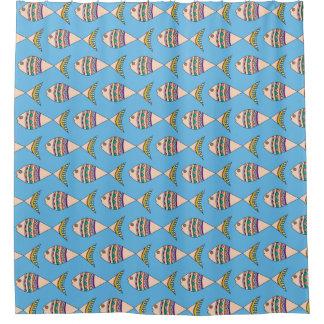 Cute Swimming Fish Pattern Blue Shower Curtain