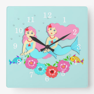 Cute Swimming Mermaids Theme Clocks