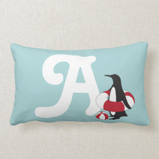Cute Swimming Penguin Summer Fun Kids Monogram Lumbar Cushion
