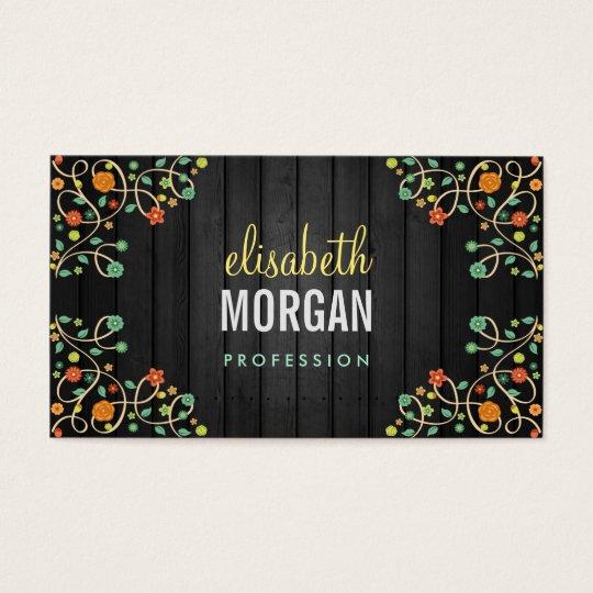 Cute Swirl Flowers on Dark Wood Business Card