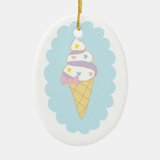 Cute Swirl Ice Cream Cone Christmas Ornament