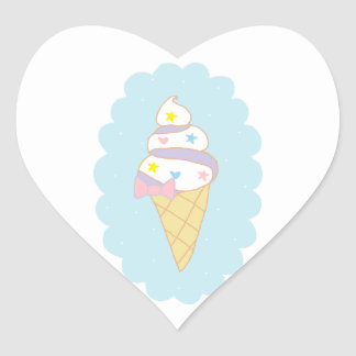 Cute Swirl Ice Cream Cone Heart Sticker