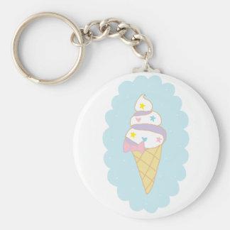 Cute Swirl Ice Cream Cone Key Chain