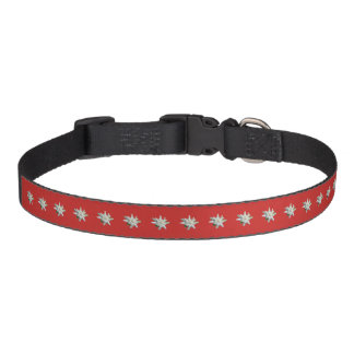 Cute Swiss Edelweiss alpine flowers red Pet Collar