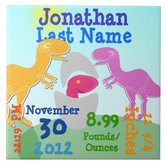 Cute T-Rex Dinosaurs Newborn Egg Boy Birth Large Square Tile