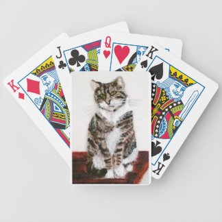 Cute Tabby Cat Art Bicycle Playing Cards