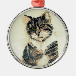 Cute Tabby Cat Art Christmas Ornament
