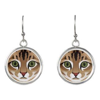 Cute tabby cat face close up illustration earrings