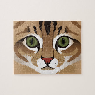 Cute tabby cat face close up illustration puzzle