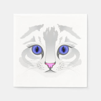 Cute tabby cat face close up illustration white disposable napkins